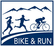 Marathon biathlon run bike. Illustration of a silhouette of biathlon or marathon runner and cyclist  race with mountains and words bike and run done in retro Stock Photos