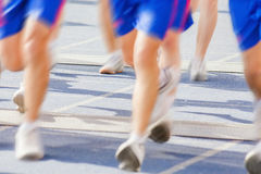 Marathon of blurred motion crowd people jogging outdoor Stock Image