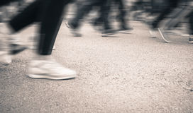 Marathon of blurred motion crowd people jogging outdoor Stock Photography