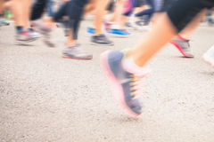 Marathon of blurred motion crowd people jogging outdoor Royalty Free Stock Images