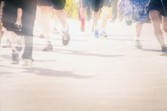 Marathon of blurred motion crowd people jogging outdoor Stock Photo