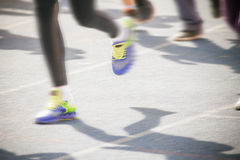 Marathon of blurred motion crowd people jogging outdoor Royalty Free Stock Photography
