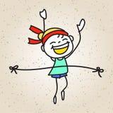Marathon courant d'enfant heureux de bande dessinée de dessin de main Photos stock