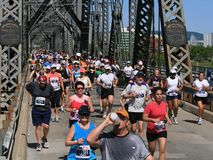 Marathon Crossing the Interprovincial Bridge royalty free stock image
