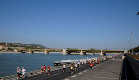 Marathon on the Danube embankment in Budpest Stock Image
