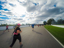 Marathon de Montreal from the view of a jogger. Stock Image