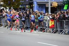 Marathon de 2017 NYC - femmes d'élite image stock