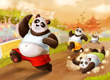 Marathon de pandas Photo stock