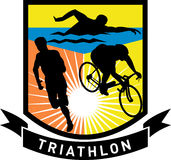 Marathon de passage de vélo de bain de Triathlon Image stock