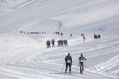 Marathon de Svalbard de marathon de ski de pays en travers images libres de droits