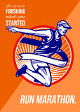 Marathon Finish What You Started Retro Poster. Poster greeting card illustration showing a male athlete marathon runner running with finish line ribbon tape set Royalty Free Stock Photo