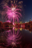 2016 Marathon Fireworks , Central Park Lake New York City Royalty Free Stock Photography