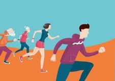 Marathon Groep lopende mensen Beeldverhaal vlakke stijl Stock Fotografie