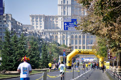 Marathon at the house of the people. Runners at the Bucharest international marathon royalty free stock photo