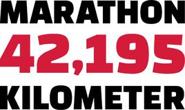Marathon 42,195 Kilometer. Vector sports stock illustration