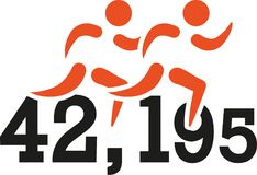 Marathon 42,195 Kilometers. Vector sports Stock Photos