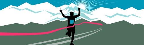 Marathon-Läufer-Vollenden-Querformat vektor abbildung