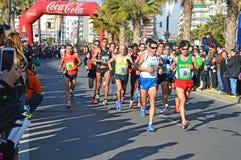 Marathon Race Leading Woman Athlete Royalty Free Stock Photos