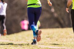 Marathon lopend ras, mensenvoeten Stock Fotografie