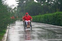 Marathon men with paraplegia. Ukraine, Crimea, Saki, 15-JUN-2013: International Marathon Scythian coast, people with limited mobility, spinal cord injury and Stock Images