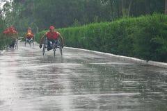 Marathon men with paraplegia. Ukraine, Crimea, Saki, 15-JUN-2013: International Marathon Scythian coast, people with limited mobility, spinal cord injury and Royalty Free Stock Photos