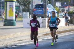 1/2 Marathon Prague 2016 – Kenyans fastest in Warsaw. Kenyan runners as soon as they defeated in Warsaw of 21 km 97 m Route 3. BMW of the Prague half marathon Stock Images