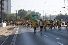 1/2 Marathon Prague 2016 – Kenyans fastest in Warsaw. Warsaw, Poland - Kenyan runners as soon as they defeated in Warsaw of 21 km 97 m Route 3. BMW of the Royalty Free Stock Image