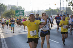 1/2 Marathon Prague 2016 – Kenyans fastest in Warsaw. Warsaw, Poland - Kenyan runners as soon as they defeated in Warsaw of 21 km 97 m Route 3. BMW of the Royalty Free Stock Photo