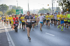 1/2 Marathon Prague 2016 – Kenyans fastest in Warsaw. Warsaw, Poland - Kenyan runners as soon as they defeated in Warsaw of 21 km 97 m Route 3. BMW of the Stock Photos