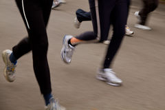 Marathon race. Runners feet in a marathon race Stock Photo