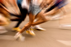 Marathon race. Blurred moment at the start of race stock photos