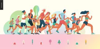 Marathon race group. Flat modern vector concept illustration of running men and women wearing summer sportswer. Marathon race, 5k run, sprint. Creative royalty free illustration