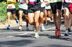Marathon Racers. Group of marathon racers running Royalty Free Stock Image