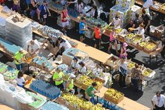 Marathon Refreshment. ATHENS, GREECE - MAY 03, 2015: Marathon Runners Refreshment Station Drinks and Bananas in Athens, Greece Royalty Free Stock Photos