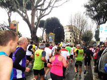 The Marathon of Rome, March 2014,  the 3 rd  km Royalty Free Stock Photos