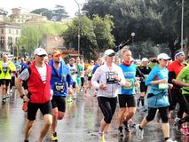 The Marathon of Rome, March 2014,  the 3 rd  km Royalty Free Stock Photo