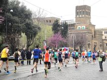 The Marathon of Rome, March 2014,  the 11 th km Stock Photography