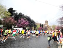 The Marathon of Rome, March 2014,  the 11 th km Royalty Free Stock Images