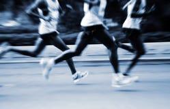 A marathon run on a city road Royalty Free Stock Photos