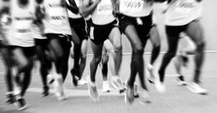 A marathon run on a city road Royalty Free Stock Images