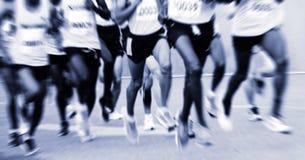 A marathon run on a city road Stock Photo