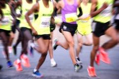 A marathon run on a city road Royalty Free Stock Image