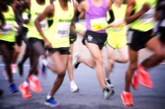 A marathon run on a city road Royalty Free Stock Photography