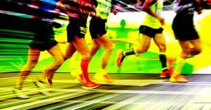 A marathon run on a city road Royalty Free Stock Photo