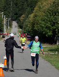 Marathon runner approaching the finish line Royalty Free Stock Photos