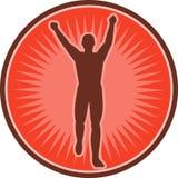 Marathon runner celebrating win. Illustration of a marathon runner celebrating win Royalty Free Stock Images
