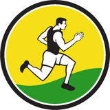 Marathon Runner Circle Retro Stock Photo