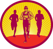Marathon Runner Circle Woodcut Stock Image