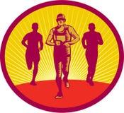 Marathon Runner Circle Woodcut stock illustration