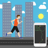 Marathon runner in city. Man running his own personal marathon in the city and smartphone showing time, air temperature, speed and distance. EPS 10 vector Stock Photography
